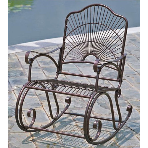 Sun Ray Wrought Iron Patio Rocker Chair in Bronze - INTC-3482