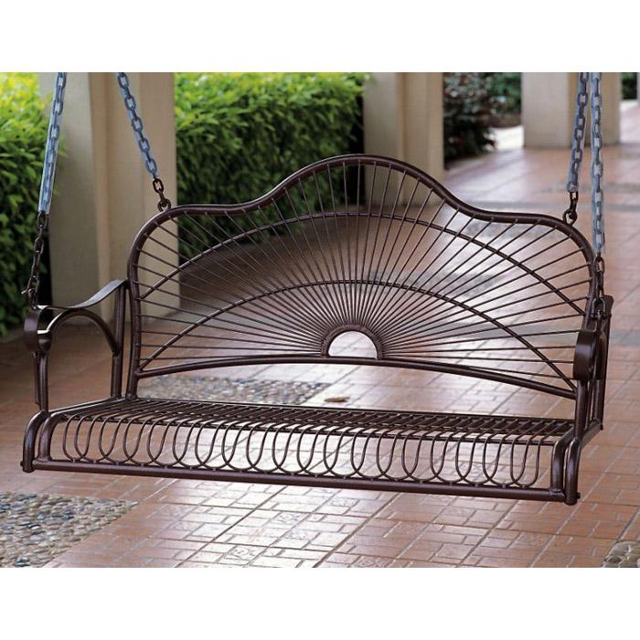 Sun Ray Bronze Wrought Iron Patio Swing   INTC 3484 ...