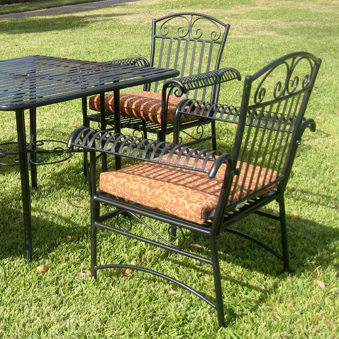 Tropico Iron Patio Set with Square Table and 4 Chairs - INTC-3492