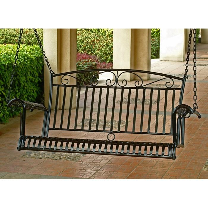 Charmant Tropico Black Wrought Iron Patio Swing   INTC 3493 ...
