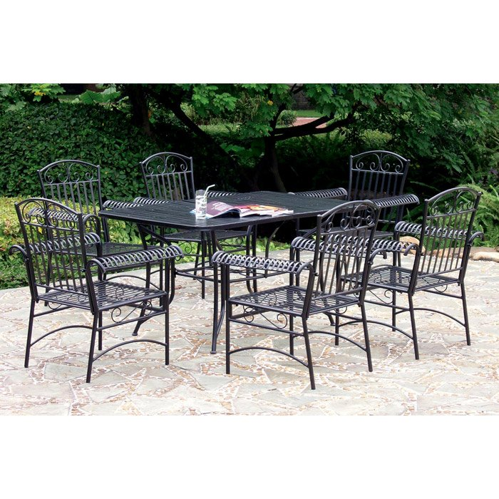 Tropico wrought iron 7 piece outdoor dining set dcg stores for Wrought iron dining set outdoor