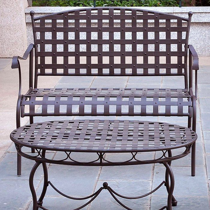 Santa Fe 3 Piece Patio Bistro Set - Wrought Iron, Oval Table - INTC-3551