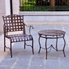 Santa Fe Patio Round Bistro Set - Wrought Iron, Rustic Brown - INTC-3554
