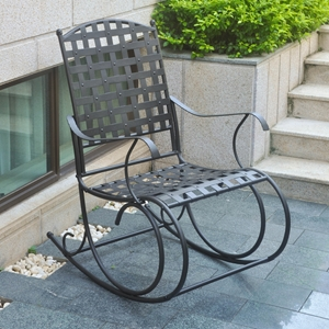 Santa Fe Iron Nailhead Porch Rocker - Antique Black