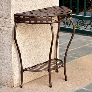 Santa Fe Iron Half Moon Patio Table