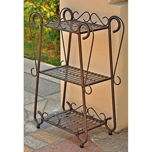 Santa Fe Set 3-Tier Plant Shelf - Wrought Iron, Rustic Brown