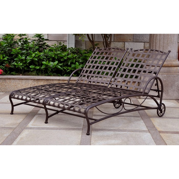 santa fe iron multi position outdoor double chaise lounge dcg stores. Black Bedroom Furniture Sets. Home Design Ideas