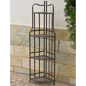 Santa Fe Folding Corner Bakers Rack - Matte Brown