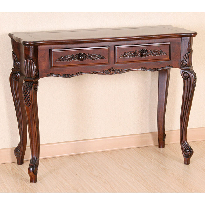 Victorian wood console table 2 drawers queen anne style for Sofa table victorian