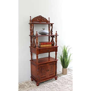 Victorian Bookcase with Cabinet - Carved Accents
