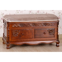 Victorian Cushioned Bench - Mahogany Stain, 2 Drawers