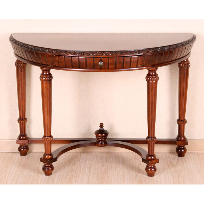 Victorian half moon sofa table mahogany stain finish for Sofa table victorian