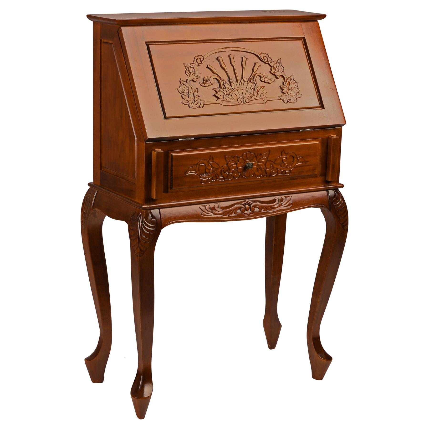 Victorian Wood Secretary Desk Mahogany Stain Finish