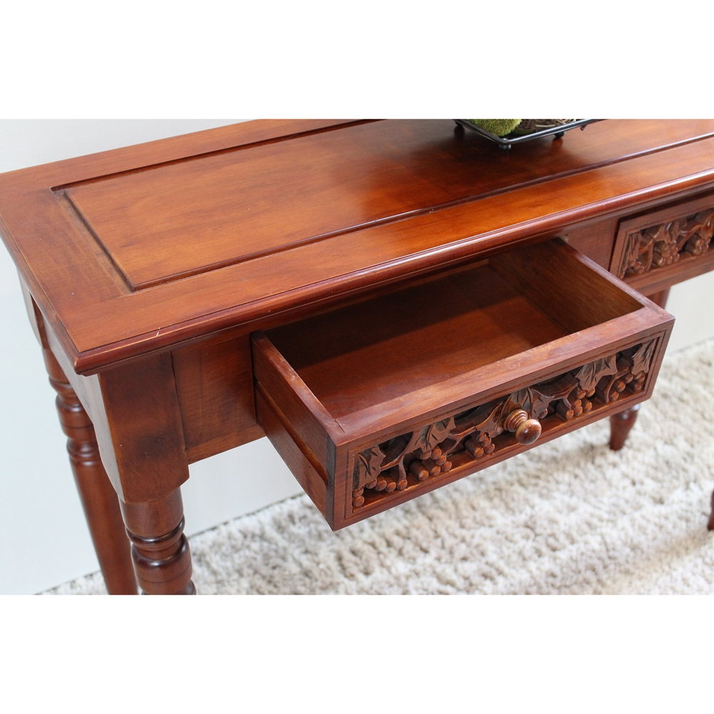 Windsor Wood Sofa Table 2 Drawers Mahogany Stain Finish