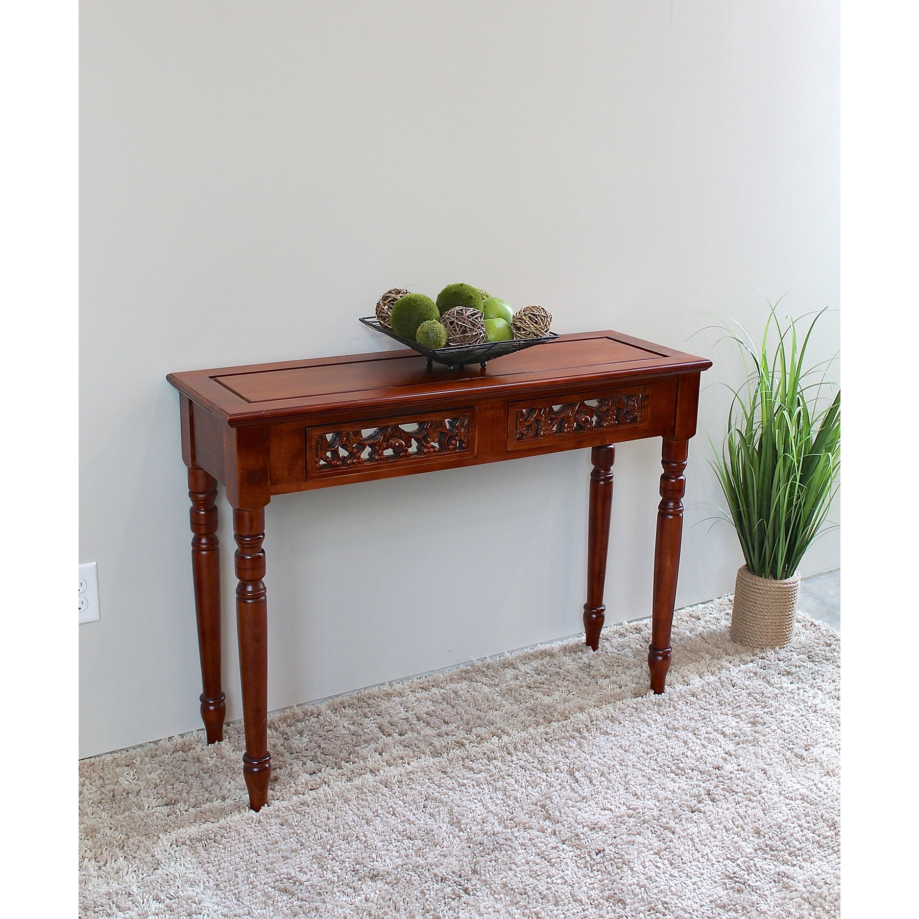 Windsor Wood Sofa Table - 2 Drawers, Mahogany Stain Finish - INTC-3834