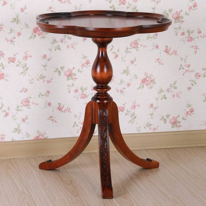 Windsor Wood End Table Scalloped Top Splay Legs Dcg