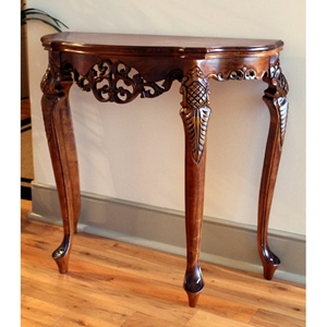 Windsor Handcarved Wood Sofa Table - Mahogany Stain