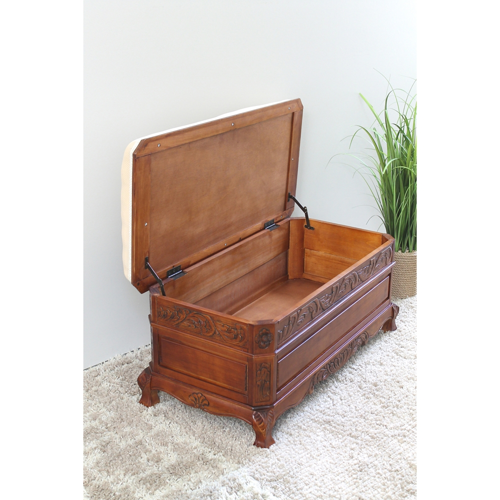 Windsor Cushioned Bench Mahogany Stain Finish Dcg Stores