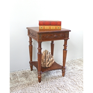 Windsor Square Top End Table - Mahogany Stain Finish