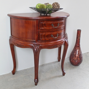 Windsor Half Moon Sofa Table - 2 Drawers, Handcarved