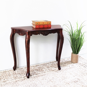 Windsor Handcarved Wood Sofa Table - Serpentine Top