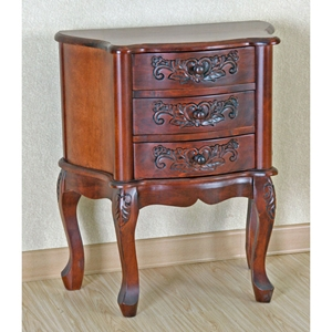 Windsor Handcarved Wood Nightstand - 3 Drawers
