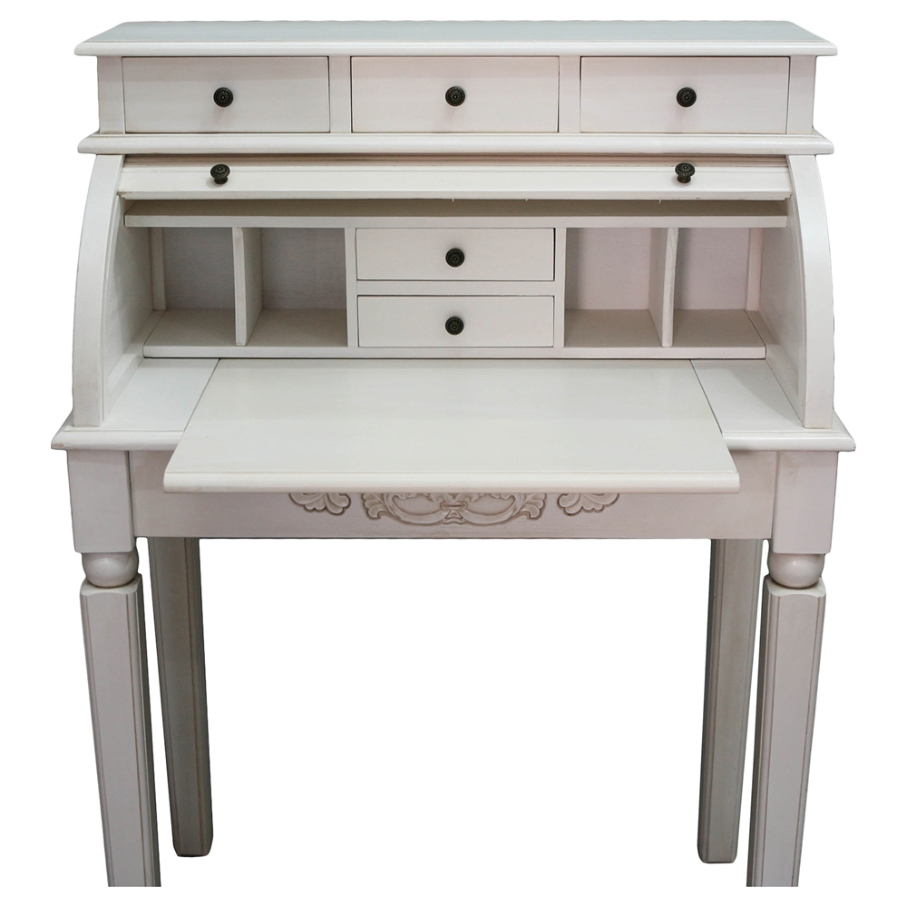 Antique White Rolltop Desk 5 Drawers Intc 3920 Aw