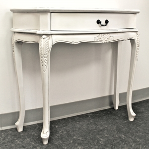 Antique White Sofa Table - 1 Drawer, Cabriole Legs