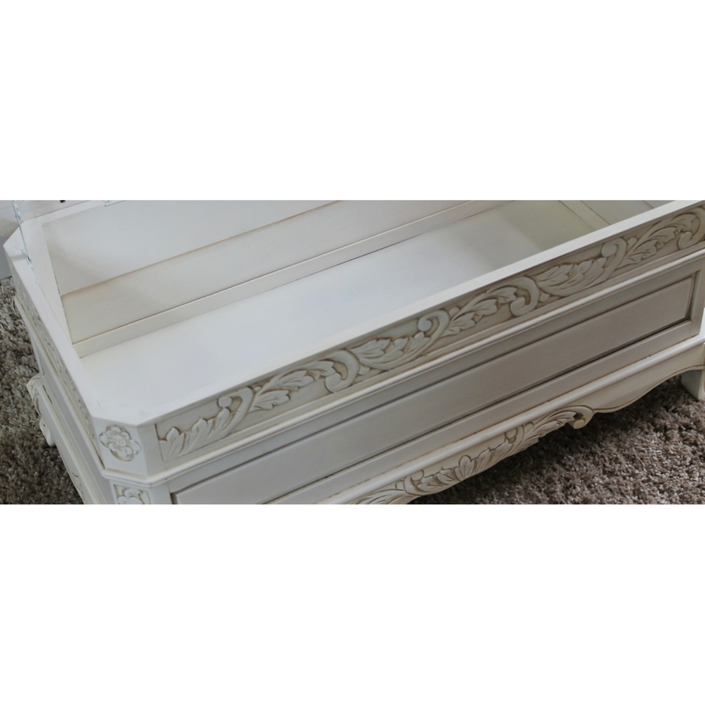 Antique White Wood Bench Cushioned Storage Compartment Dcg Stores