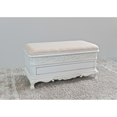 Antique White Wood Bench Cushioned Storage Compartment