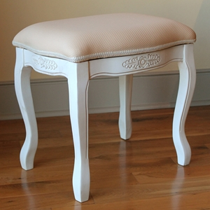 Antique White Vanity Stool - Cushioned, Cabriole Legs