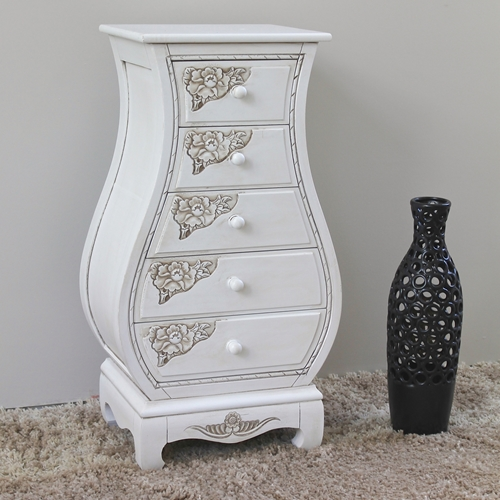 Antique White Bombay Chest 5 Drawers Dcg Stores