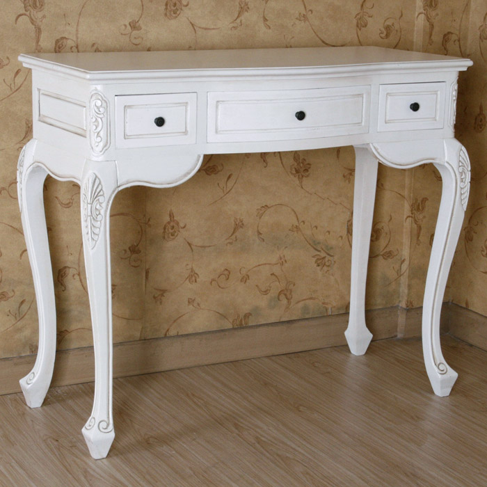 antique white vanity table 3 drawers dcg stores