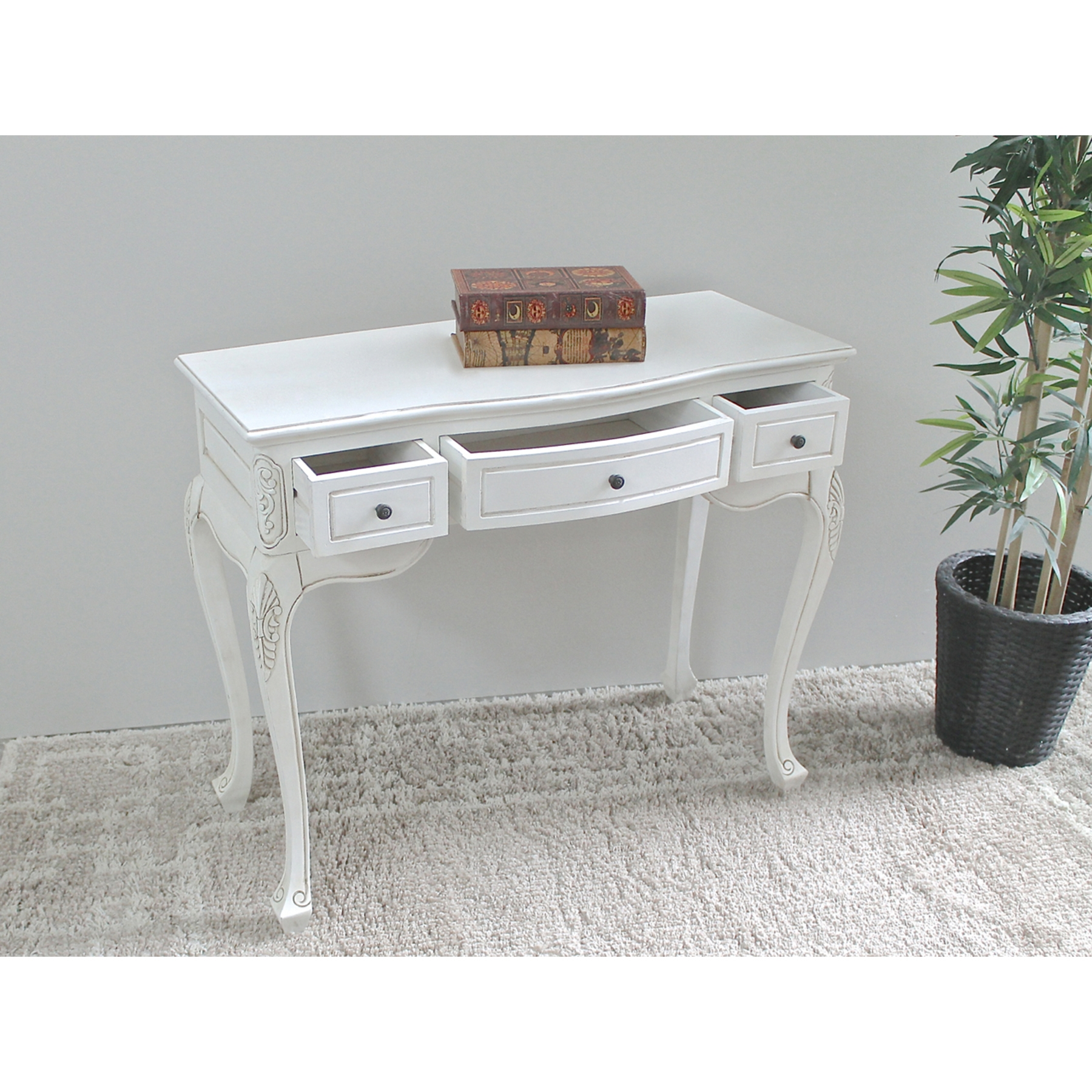 Antique White Vanity Table - 3 Drawers - INTC-3979-AW