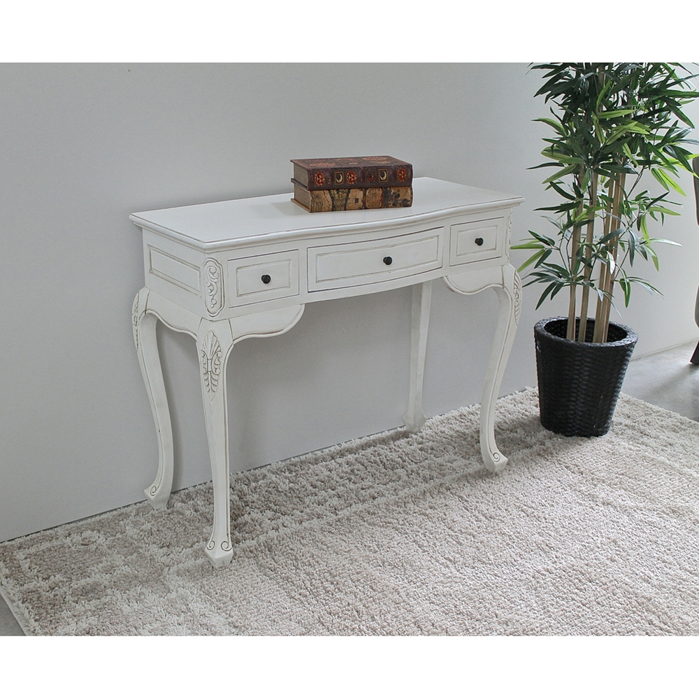 Antique White Vanity Table - 3 Drawers  DCG Stores