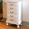 Antique White Jewelry Chest - 5 Drawers - INTC-3986-AW