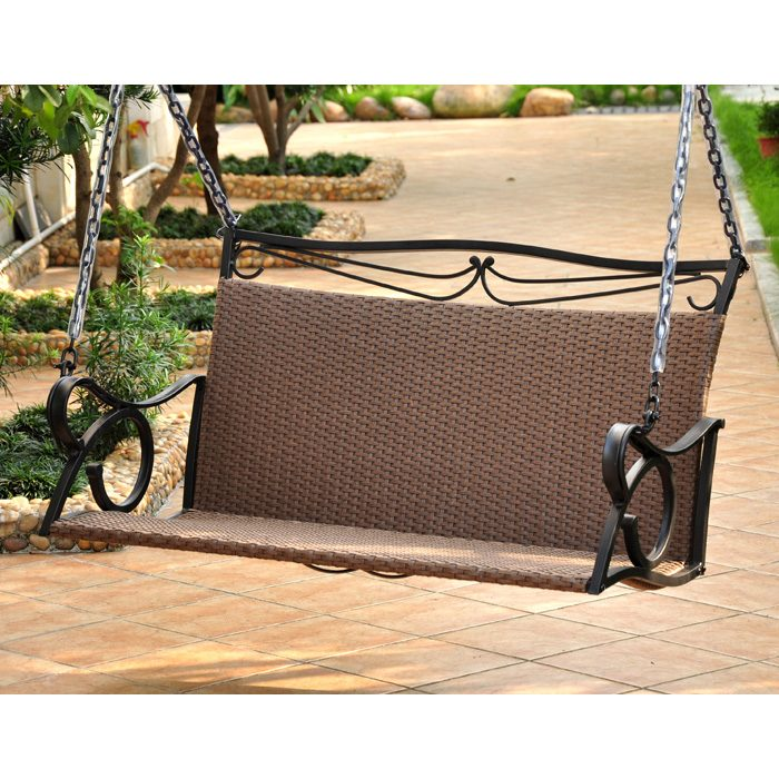 Lisbon Loveseat Patio Swing Iron Antique Brown Wicker Dcg Stores