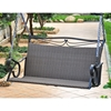 Lisbon Loveseat Patio Swing - Iron, Black Antique Wicker - INTC-4100-DBL-BKA