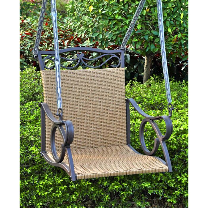 Valencia Iron and Wicker Swing Chair - INTC-4101-SGL