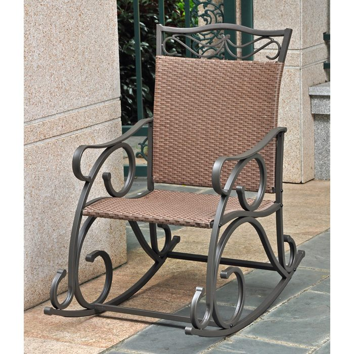 Lisbon Patio Rocker Chair   Wrought Iron, Antique Brown Wicker   INTC 4104   ...