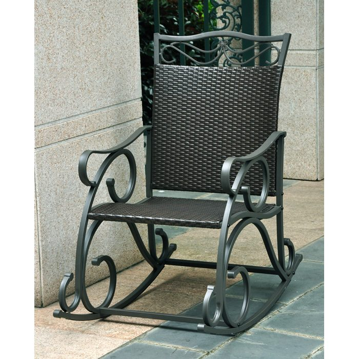 Lisbon Patio Rocker Chair - Wrought Iron, Black Antique Wicker - INTC-4104-RKR-BKA
