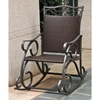 Lisbon Patio Rocker Chair - Wrought Iron, Chocolate Wicker - INTC-4104-RKR-CH