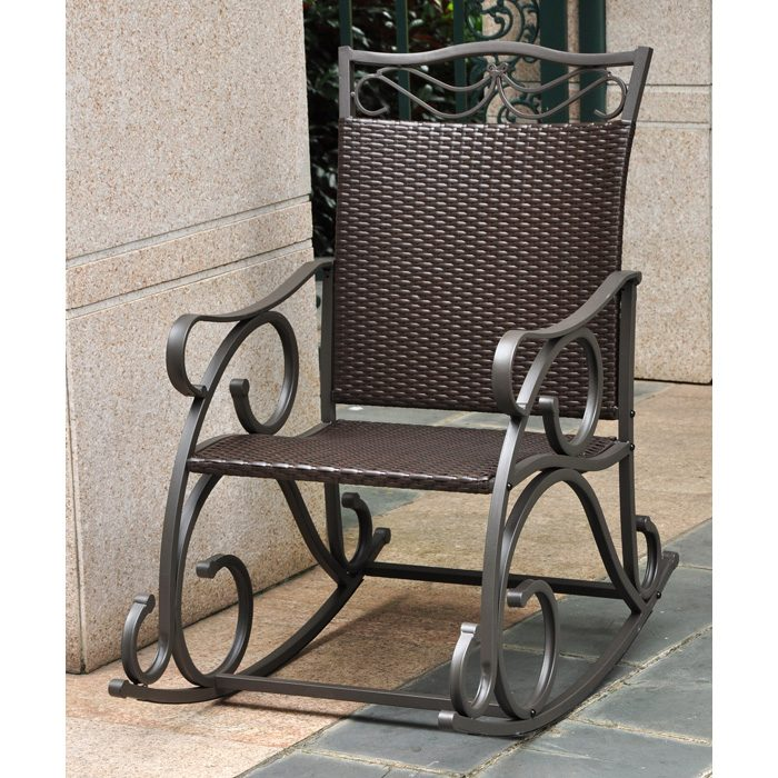 Lisbon Patio Rocker Chair   Wrought Iron, Chocolate Wicker   INTC 4104 RKR  ...