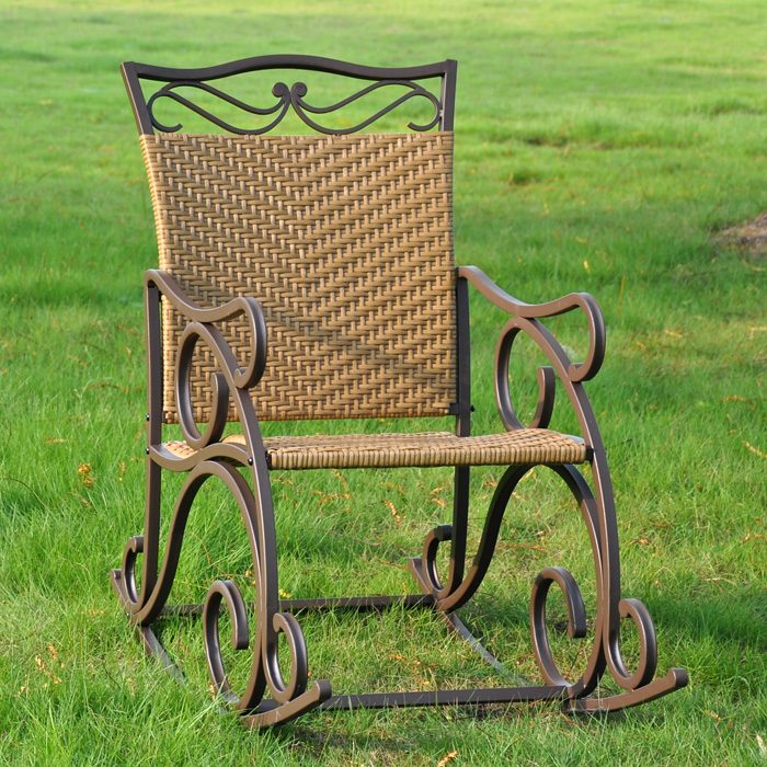 Valencia Wrought Iron And Wicker Patio Rocker Chair