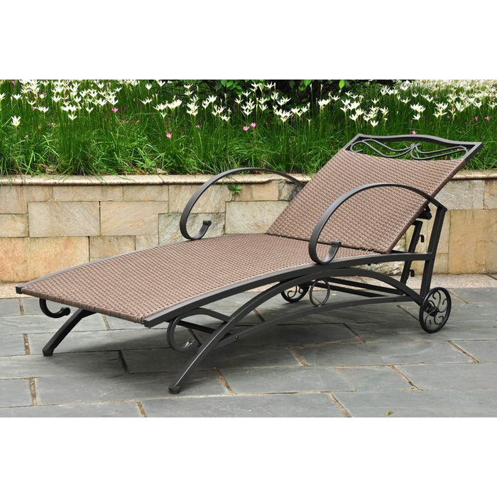 Lisbon Outdoor Chaise Lounge - Iron, Antique Brown Wicker - INTC-4111-SGL-ABN