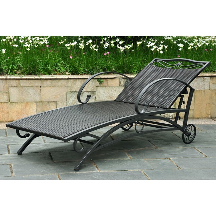 Lisbon outdoor chaise lounge iron black antique wicker for Black metal chaise lounge outdoor