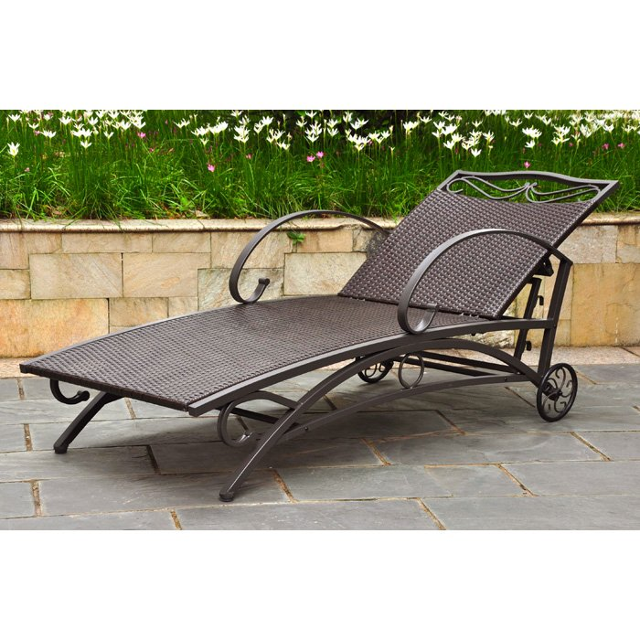 Lisbon Outdoor Chaise Lounge - Iron, Chocolate Wicker - INTC-4111-SGL-CH