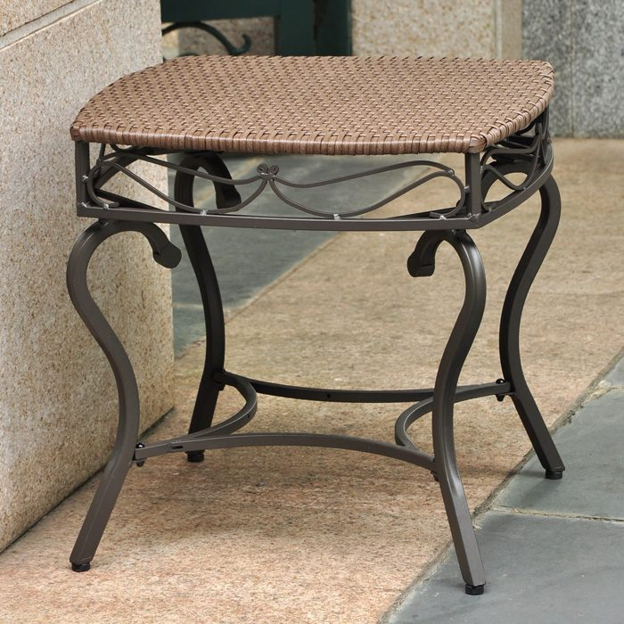 Lisbon Patio Side Table Wrought Iron Antique Brown