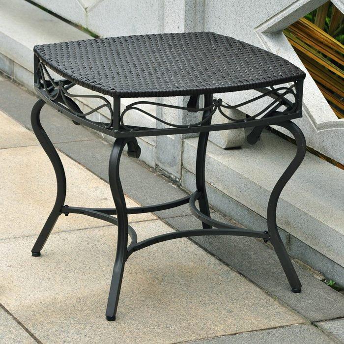 Lisbon patio side table wrought iron black antique for Wrought iron side table