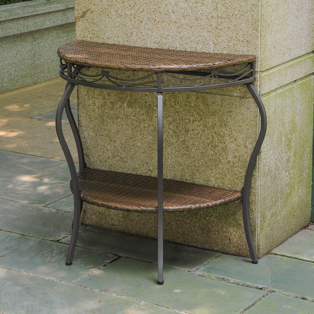 Valencia 2 Tier Half Moon Patio Table Antique Brown